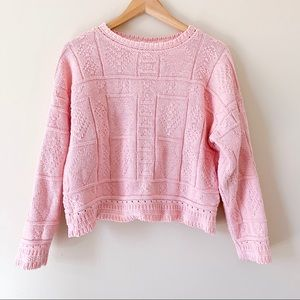Vintage Retro Pink Chunky Knit Sweater 80s M